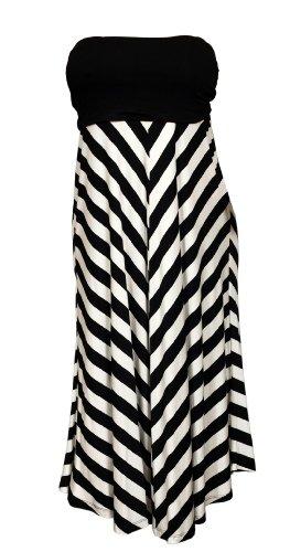 eVogues Plus size Striped Dress Skirt Black – 2X