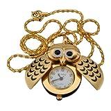 Fashion Golden Silver Color Owl Pendant Necklace Chain Quartz Pocket Watch Gift