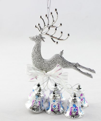 THG Gloden NEW Christmas Decoration Ornaments Fawns with Bell Colorful US Stock