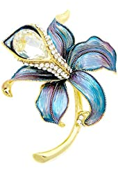 Glamorousky Blue Flower Brooch with Silver Austrian Element Crystal and CZ (4945)