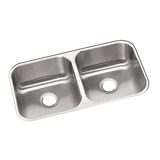 Elkay DXUH3118 Dayton 31-3/4-Inch by 18-1/4-Inch Stainless Steel Double Bowl Undermount Kitchen Sink, Satin Finish