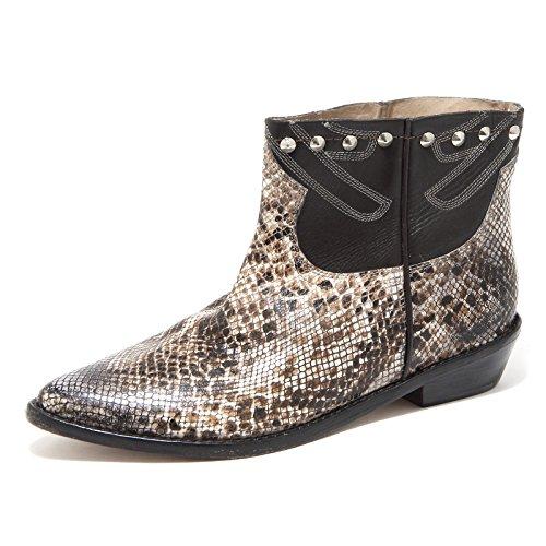 65326 stivaletto MR. WOLF BROWN STAMPA RETTILE scarpa stivale donna boots shoes [39]