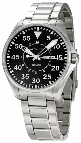 Hamilton Men's H64611135 Khaki Pilot Black Day Date Dial Watch