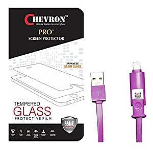 Chevorn 0.3mm Pro Tempered Glass Screen Protector For Samsung Galaxy J7 (2016) With 2 In 1 Data Cable (Micro USB & Lighting)
