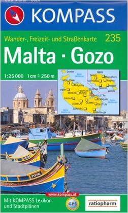 Malta & Gozo 1:25,000 Contoured Hiking Map, GPS-compatible KOMPASS, 2012 edition