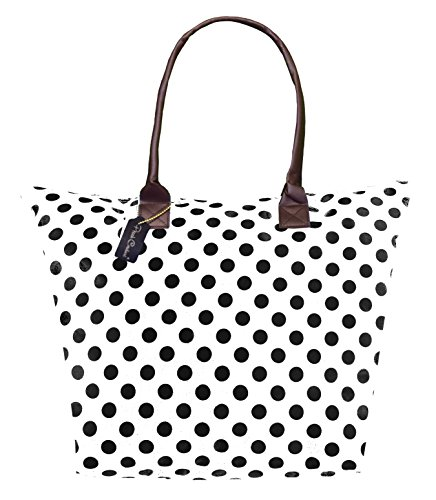 Peach Couture KYLIE Polka Dot Fun Print Tote Versatile Bag Purse Handbag Beach Shoulder Tote (White/Black)