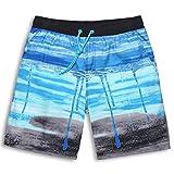 GAILANG(ガイラング) 水着 メンズ 海水パンツ サーフパンツ 短パン g5-ms01 L(ウエスト80cm~90cm) シアン