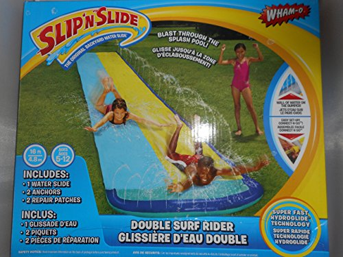Double Surf Rider Water Slide! Wham-o Slip N Slide Blast Through Splash Pool Wall of Water on the Bumper (Colors May Vary) (Best Slip N Slide compare prices)