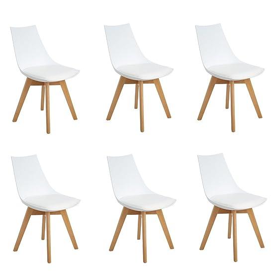 Set di 6 Diamante pranzo / Ufficio Sedia con gambe in faggio massiccio, Eggree(TM) Sedie senza braccia imbottita di design per il massimo comfort - Bianco