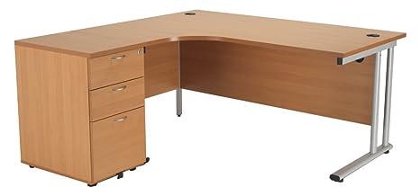 Left Hand Crescent Desk 1600mm and Desk High Pedestal in Beech - Smart Office Furniture Range, Desk with Drawers