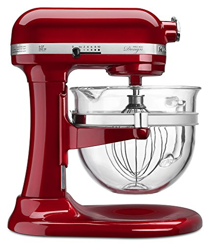 KitchenAid KF26M22CA 6-Qt. Professional 600 Design Series with Glass Bowl - Candy Apple Red (6 Qt Professional Kitchen Aid compare prices)