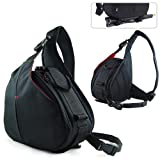 New First2savvv Black professional hardwearing waterproof DSLR digital camera / Lens / Tripod shoulder carrying case bag for FUJIFILM FinePix S4500 with card reader