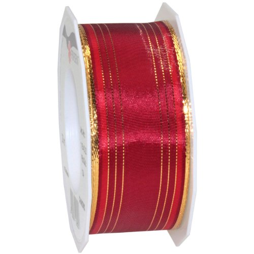 Morex Ribbon Chamonix Wired Metallic Taffeta, 1-1/2 by 22-Inch Yard Spool, Bordeaux
