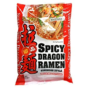 Soken Low-Fat Ramen, Spicy Dragon with Szechuan-Style Soup, 3-Ounce Packets (Pack of 12)