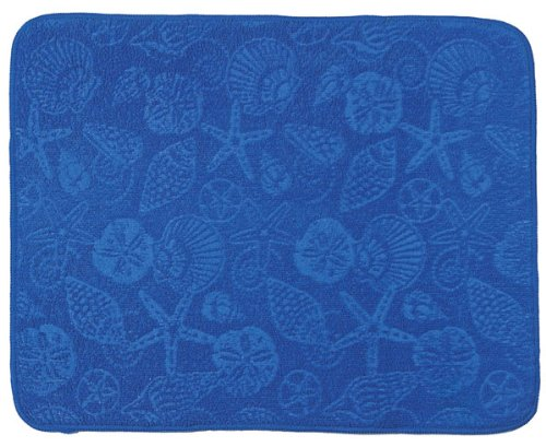 Ocean Blue Embossed Shells Kitchen Countertop Drying Mat Kay