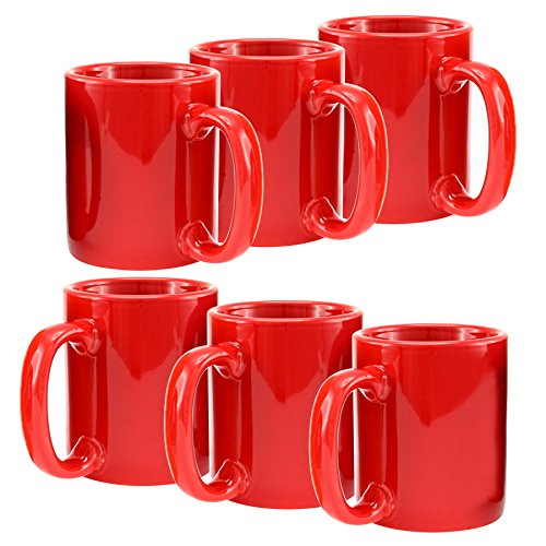 Creative Home Ceramic Coffee Mug, Tea Cup (Set of 6), 12 oz, Red (Coffee Cup Set Red compare prices)