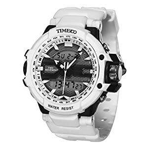 TIME100 Multifunction LCD Dual-time Display Silicone Strap White Outdoor Sports Digital Watch #W40110G.02A