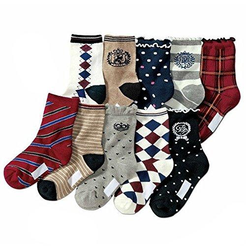 Deer Mum Kid'S Multiple Pattern Cotton Lace Socks(10 Pairs) front-372801