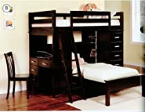 Big Sale Coaster Bunk Bed - Twin / Twin Size Workstation Bunk Bed in Cappuccino