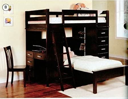 Twin Over Twin Bunk Bed With Desk and Drawers