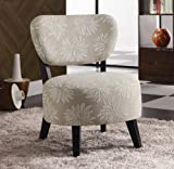 Accent Chair with Light Floral Pattern in Dark Brown Wood Legs