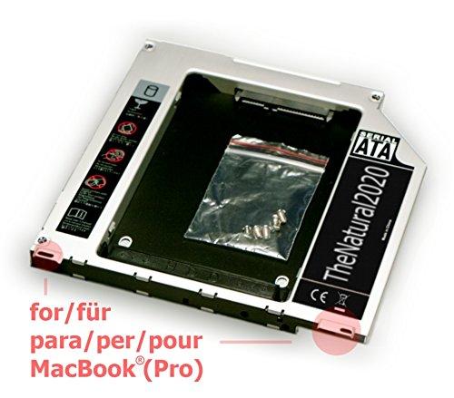 """Adattatore HDD/SSD SATA III per MacBook e MacBook Pro Unibody 13"""" 15"""" 17"""" (sostituisce SuperDrive) 9.5 mm caddy (SATA - SATA) - TheNatural2020"""