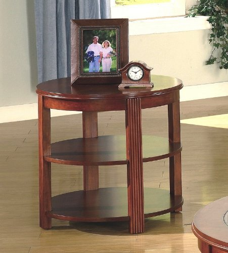 Image of Contemporary Cherry Finish Round Storage End / Side Table (VF_AZ00-28257x29286)