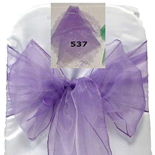 MDS 10 Organza Chair Cover Bow Sash Wedding Banquet Decor -Lavander