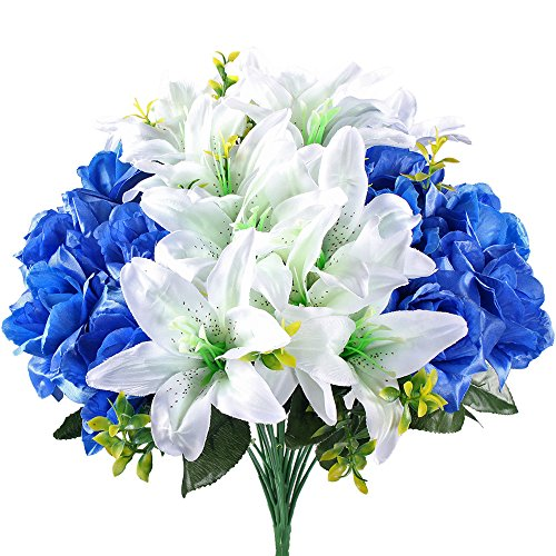 Hogado Aritificial Faux Silk Mixed Rose Lily Large Flower Bouquet Spary Plant Arrangements Home Garden Table Party Wedding Decor in Blue White (Freeze Dried Rose Petals Blue compare prices)