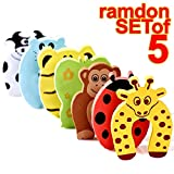 The Wolf Moon® Children Safety No Finger Pinch Foam Door Stopper. Colorful Cartoon Animal Cushion – Ramdom Bundled Baby Child Kid Cushiony Finger Hand Safety, Curve Shaped Door Stop Guard 5 PCS Set