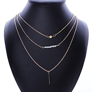 Qiyun Faux Pearl Pendant Charm Necklace Triple-Layer Gold Noble Chain Charme Perles Triple Couche D'Or Faux Noble Collier