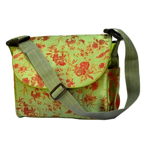 I Frogee Green-Red Multi Function Brocade Diaper Bag / Backpack / Stroller Bag