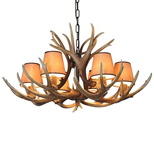 Shengdi corno di cervo 6-Light ferro industriale vintage lampadario a soffitto della lampada della lampada per Ristorante balcone Camera con paralume 1017C-6-2fr (Coffee)