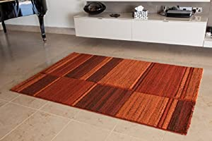 Warm Terracotta Burnt Orange Urban Motled Pattern Rug - 5 Sizes Available from The Rug House