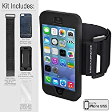 buy Armband Value Pack For Iphone 5/5S By Mediabridge - 1 Slim Shell Aluminum Case (Midnight Blue/Black), 1 Silicone Case, 1 Premium Glass Screen Protector & 1 Elastic Velcro Strap (Part# Ab2-I5-Blua )