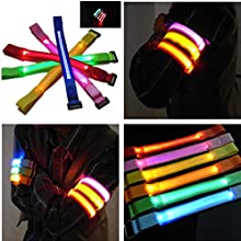 Sports Cycling LED Safety Arm Band Flash Wrist Straps Green Color