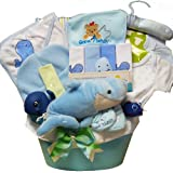 Art of Appreciation Gift Baskets Whale Tails Fishing Fun Baby Boy Gift Basket