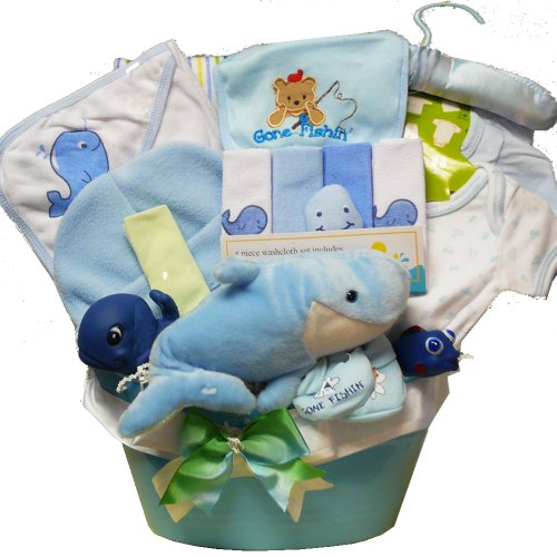 Art Of Appreciation Gift Baskets Whale Tails Fishing Fun New Baby Gift Basket, Boy