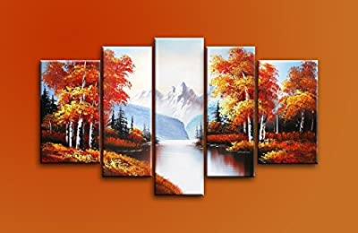Ode-Rin Hand Painted Oil Paintings on Canvas Autumn Golden Trees River Landscape 5 Panels Bundle with Paper Cutting Wood Framed Modern Art for Home and Wall Decor