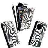 MOBILEEXTRALTD® For LG Viewty Snap Gm360 Zebra Face Printed Pouch PU Leather Magnetic Protected Flip Case Cover + Free Stylus