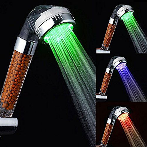 BESTOPE® Magic Negative Ionic Filter Chlorine LED Shower Head 3 Colors Changes with Changing Water Temp Bathroom LED Light Top Spray Shower Head