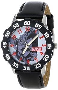 Marvel Comics Kids' W001047 Tween Spider-Man Stainless Steel Black Bezel Black Leather Strap Watch