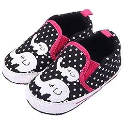 Femizee Infant Newborn Baby Boy Girl Soft Anti-Slip Crib Shoes Sneakers Black Elephant 6-9 Months
