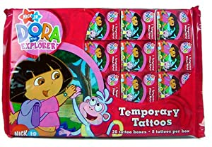 Dora the Explorer Individually Boxed Temporary Tattoos - 20 Boxes in Retail Packaging