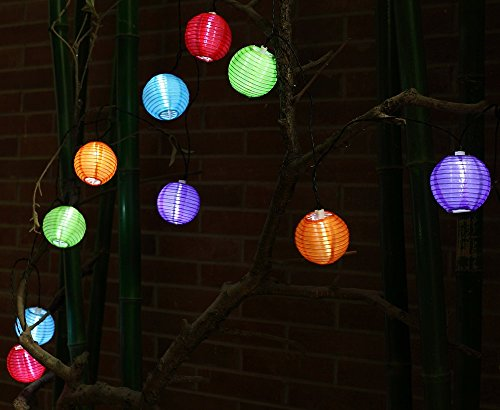 Bluettek Solar Powered 10 Balls Multicolor Led String Chinese Lantern Light Wedding Birthday Party Patio Lawn Garden Christmas-Tree Indoor Outdoor Lighting Balls (Multi-Lantern-White Light)