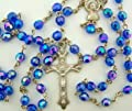 Light Blue Aurora Borealis style Glass 6MM Bead Rosary w Virgin Mary Center