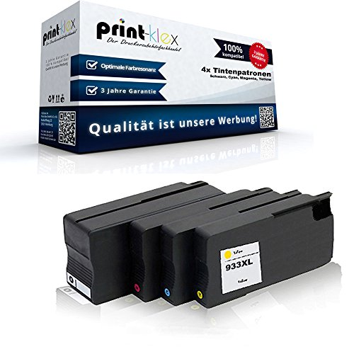 4x kompatible Tintenpatronen für HP OfficeJet6100e-Printer OfficeJet6600e-All-in-One OfficeJet6700Premium OfficeJet7110wideformat HP932bk HP 932bk HP933c HP 933c HP933m HP 933m HP933y HP 933y - Sparset