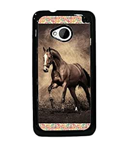 PrintDhaba Horse D-4629 Back Case Cover for HTC ONE M7 (Multi-Coloured)