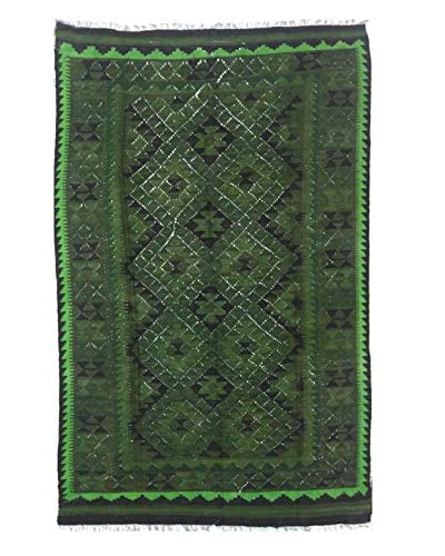 "nuLOOM One-of-a-Kind Flatwoven Kilim Bell Rug, Green, 5' 3"" x 8' 3"""