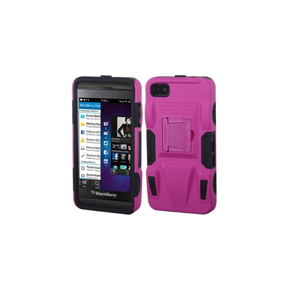 MyBat ABB10HPCSAAS804NP Advanced Rugged Armor Hybrid Combo Case with Kickstand for BlackBerry Z10   Retail Packaging   Hot Pink/Black